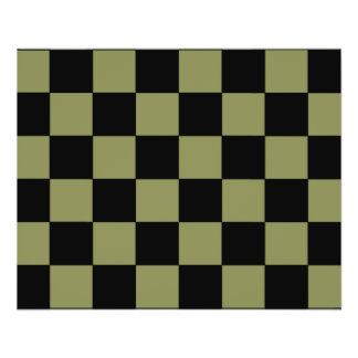 Hipster Army Green Checkerboard Chessboard Flyer Design