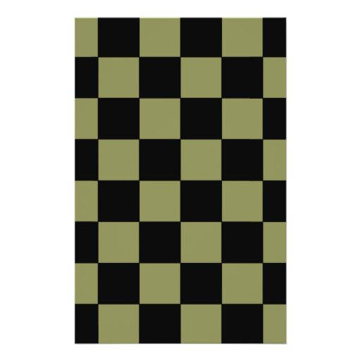 Hipster Army Green Checkerboard Chessboard Personalized Flyer