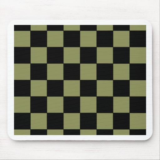 Hipster Army Green Checkerboard Chessboard Mouse Pad