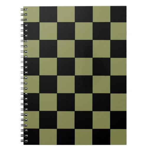 Hipster Army Green Checkerboard Chessboard Note Book