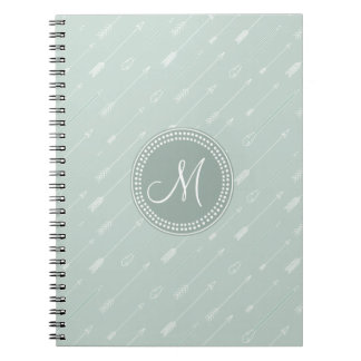 Hipster Arrow Mint Green Monogram Notebooks