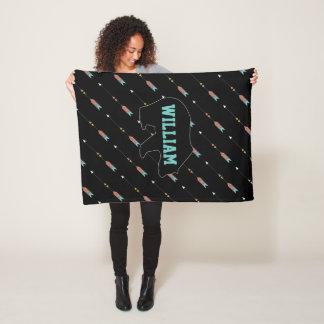 Hipster Arrow Pattern Teal Coral Bear Monogram Fleece Blanket