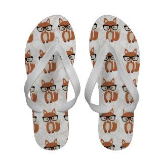 Hipster Baby Fox w Glasses Flip-Flops