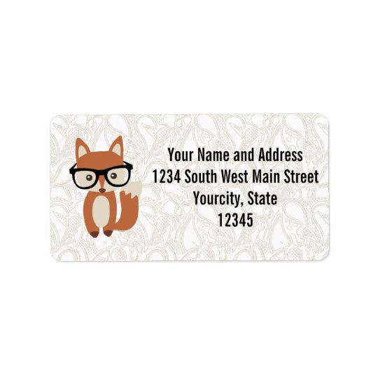 Hipster Baby Fox w/Glasses Label