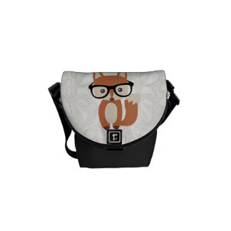 Hipster Baby Fox w/Glasses Messenger Bags