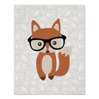 Hipster Baby Fox w/Glasses Poster