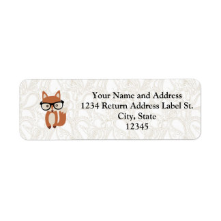 Hipster Baby Fox w/Glasses Return Address Label