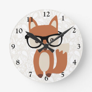 Hipster Baby Fox w/Glasses Round Clock