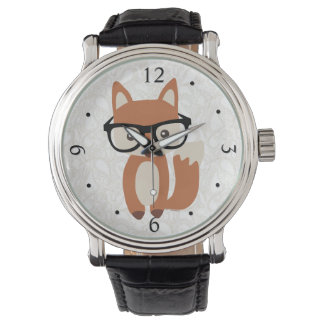 Hipster Baby Fox w/Glasses Wrist Watches