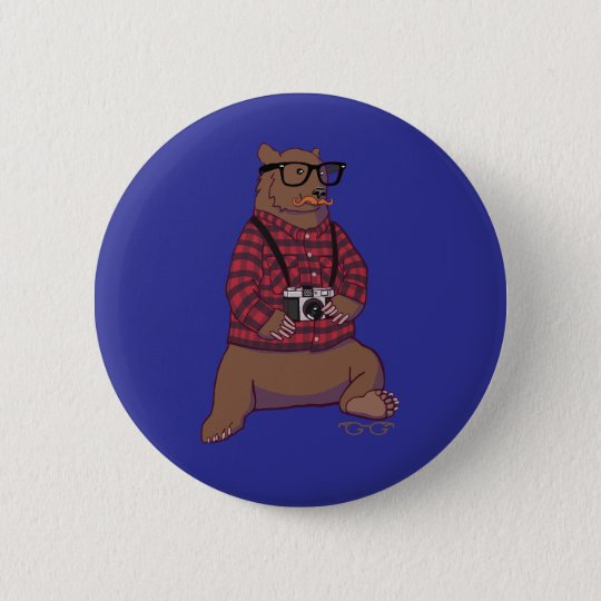 Hipster Bear Button (without text)