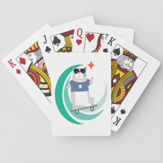 Hipster Bear Skateboarder Playing Cards
