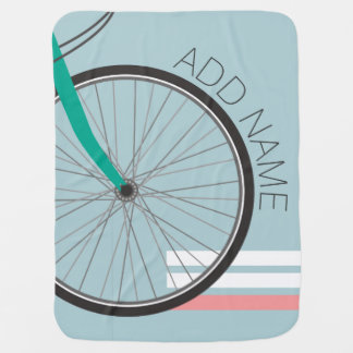 Hipster Bicycle Wheel with Custom Name Baby Blanket