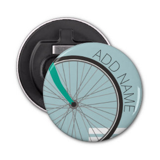 Hipster Bicycle Wheel with Custom Name Bottle Opener