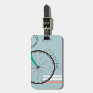 Hipster Bicycle Wheel with Custom Name Luggage Tag