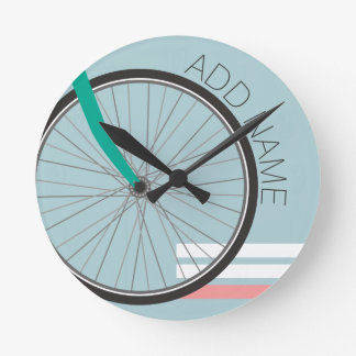 Hipster Bicycle Wheel with Custom Name Wall Clock