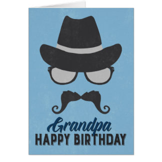 Hipster Birthday Card for Grandpa - Blue