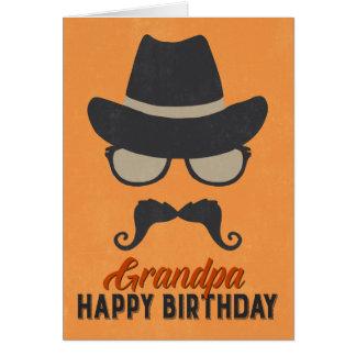 Hipster Birthday Card for Grandpa - Orange