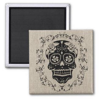 Hipster Black Sugar Skull Burlap Square Magnet