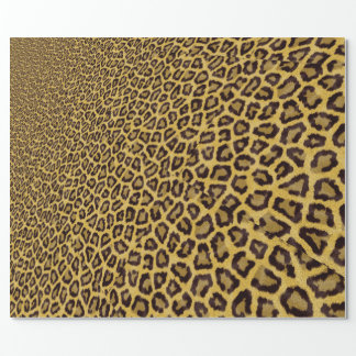 Hipster Black Yellow Animal Print Pattern Wrapping Paper