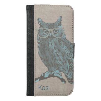 Hipster Blue Owl iPhone 6 Plus Wallet Case
