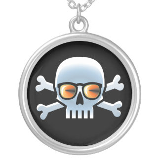Hipster Blue Skull Round Pendant Necklace
