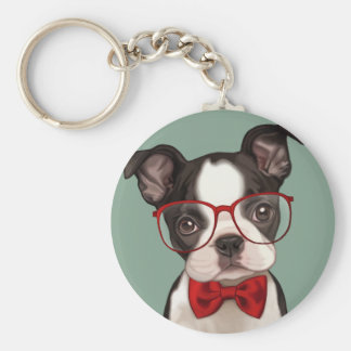 Hipster Boston Terrier Key Ring