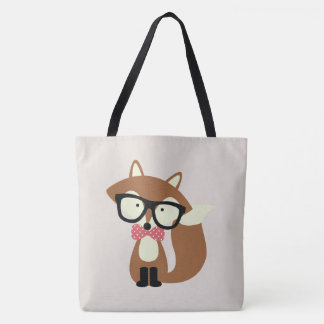 Hipster Bow Tie Brown Fox Tote Bag