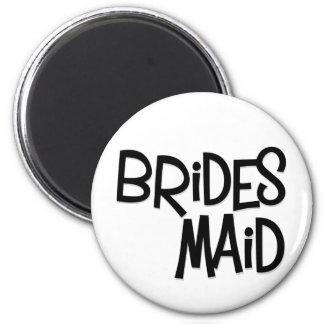 Hipster Bridesmaid 6 Cm Round Magnet