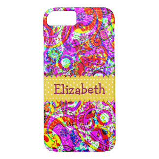Hipster Bright Purple Red Orange Paisley Pattern iPhone 8/7 Case