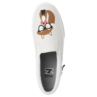 Hipster Brown Fox Printed Shoes