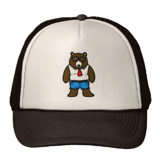 Hipster brown wild bear with a red tie cap