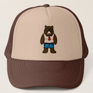 Hipster brown wild bear with a red tie trucker hat