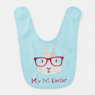 Hipster Bunny First Easter Baby Bibs (Boy)