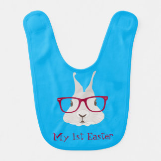 Hipster Bunny First Easter Baby Bibs (Boy2)