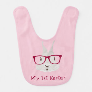 Hipster Bunny First Easter Baby Bibs (Girl)