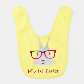 Hipster Bunny First Easter Baby Bibs (Yellow)