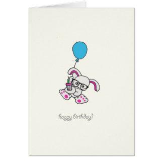 Hipster Bunny Happy Birthday Card