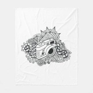 Hipster Camera Doodle Fleece Blanket