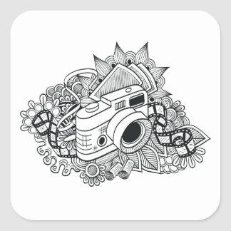 Hipster Camera Doodle Square Sticker