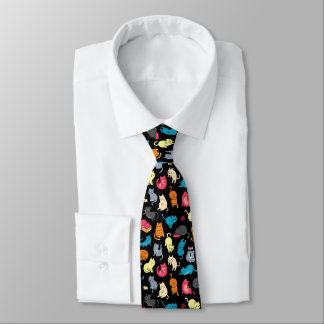 Hipster Cartoon Cats Necktie