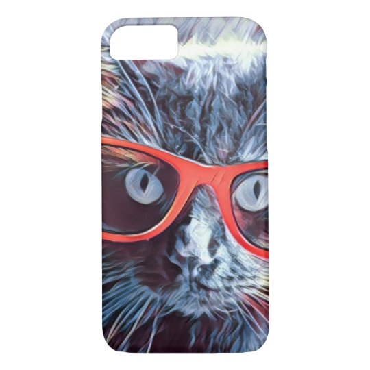 Hipster Cat, Big Red glasses! iPhone 8/7 Case