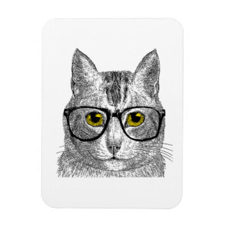 Hipster Cat - Cat Humor Rectangle Magnets