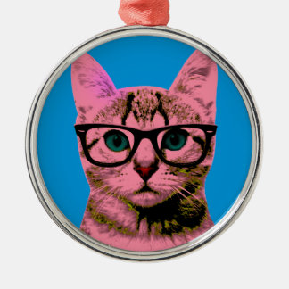 Hipster Cat Christmas Ornament