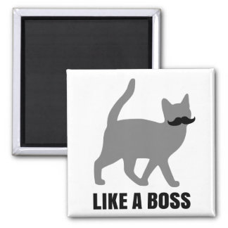 Hipster Cat like a boss Square Magnet