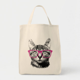 Hipster Cat Meow Nerdy Kitten Grocery Tote Bag