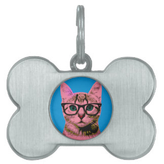 Hipster Cat Pet Tag
