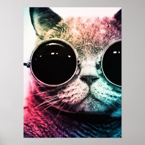 Hipster Cat Pop Art Poster