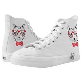 Hipster Cat with Fancy Red Bow. Printed Shoes