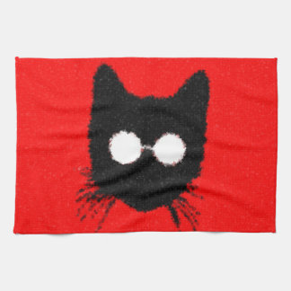 Hipster Cat with Glasses Silhouette – red & black Tea Towel
