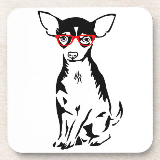 Hipster Chihuahua Red Glasses Coaster